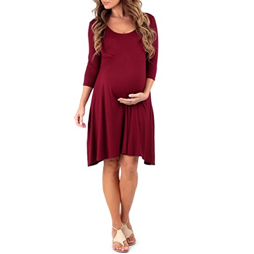 Women's Maternity Dress with Criss Cross Back and Pockets by Mother Bee - Made in USA Burgundy M
