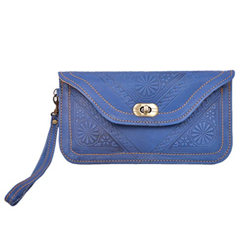 Bag Souvenir Gift Genuine Carved Blue Wallet Nice Handmade Clutch Leather Artisanal Handmade Free Moroccan Moroccan Leather xSw6HqAHY