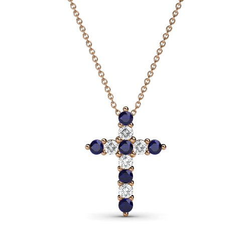 TriJewels Petite Blue Sapphire & Diamond Cross Pendant 0.34 ctw in 14K Rose Gold with 14K Gold Chain