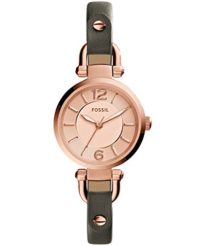 Fossil Women's ES3862 Georgia Three-Hand Leather Watch With Gray Band ()
