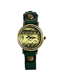 Lancardo Women's Antique Coppery Wrist Watch With Green Rivet Leather Band