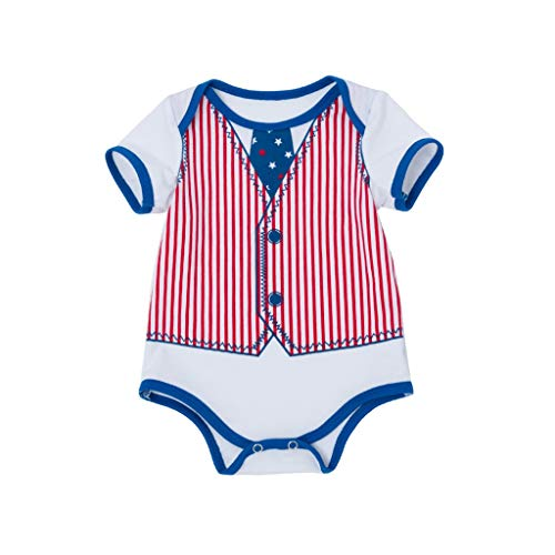 - perfectCOCO Summer 4th of July Toddler Baby Girl Jumpsuit American Flag Romper Dress with Headband Blue