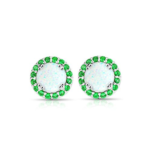 Sterling Silver Simulated White Opal & Simulated Emerald Round Halo Stud Earrings