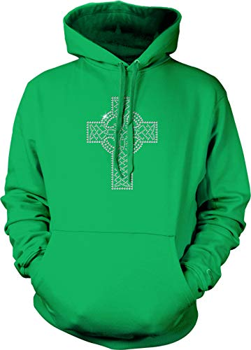 - Holy Cross - Rhinestone Religious Unisex Hoodie Sweatshirt (Kelly, XX-Large)
