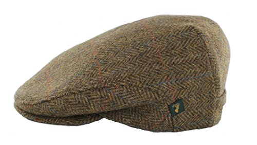 Mucros Irish Tweed Cap Brown Plaid Herringbone 100% Wool by Mucros