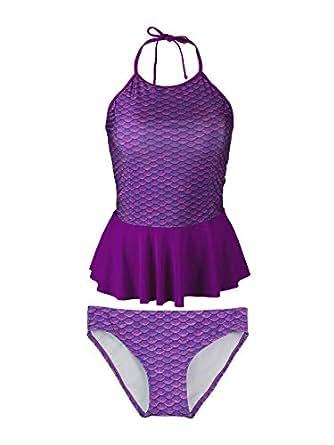 Amazon.com: Fin Fun Mermaid Girl's Scale Peplum Tankini