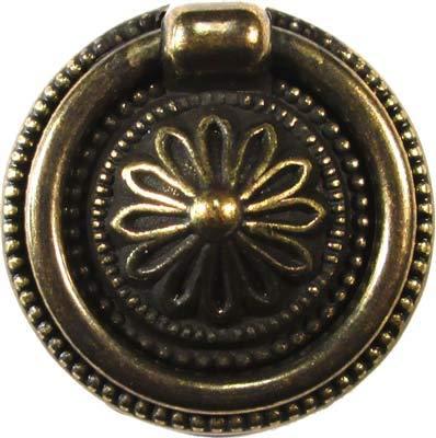 (Colonial Revival Antiqued Brass Finish Ring Flower Drawer Knob Pull Handle Antique Cabinet, Vintage Cupboard, Old Desk Reproduction Restoration Hardware + Free Bonus (Skeleton Key Badge) AD-1269 (10))