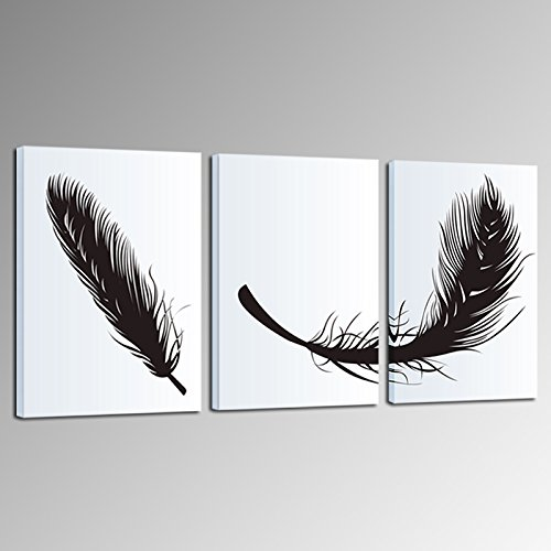 Sea Charm-Feather Canvas Wall Art,3 Panels Modern Giclee