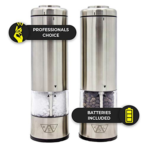 (KSL Battery Operated Salt And Pepper Electric Grinder Set (Pack of 2 Mills) | Automatic One-Handed Operation Shaker | Durable Stainless Steel & Ceramic | Adjustable Grinding Coarseness | LED Light)