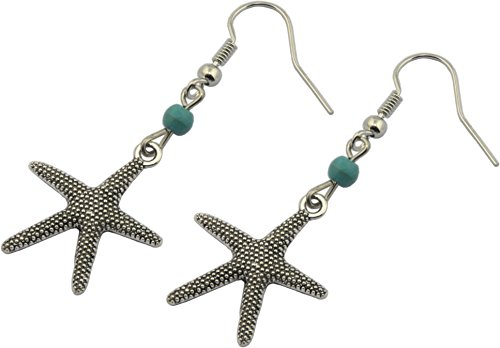 Earrings, Turquoise Magnesite Starfish Dangle Earrings + FREE GIFT -