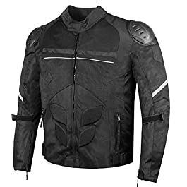 AirTrek Men Mesh Motorcycle Touring Waterproof Rain Armor Biker Jacket Black
