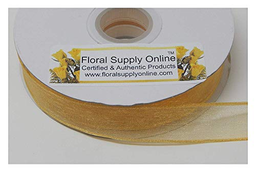 #3 Monofilament Edge Sheer Organza Ribbon for Floral, Fashion, Craft, Scrapbooking, Gift Wrapping, Hair Bows, Wedding, Baby Shower, and Decorating Projects. (5/8 Inch x 25 Yard, Light Gold)