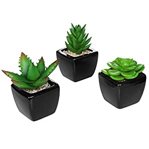 MyGift Set of 3 Modern Square Black Ceramic Artificial Succulent Planter/Mini Faux Potted Plants 1