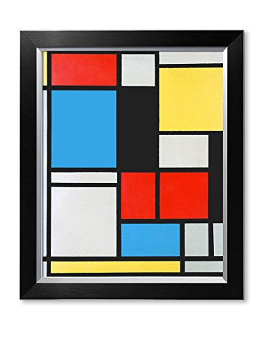DecorArts - Ater Piet Mondrian Composition in blue, red and yellow Lithograph in colours. Giclee Prints Canvas Art for Home Decor. 20x16