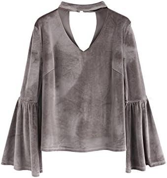 7c437c8c5 SheIn Women's Casual Choker V Neck Long Bell Sleeve Velvet Top Blouse