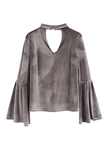 SheIn Womens Casual Choker V Neck Long Bell Sleeve Velvet Top Blouse