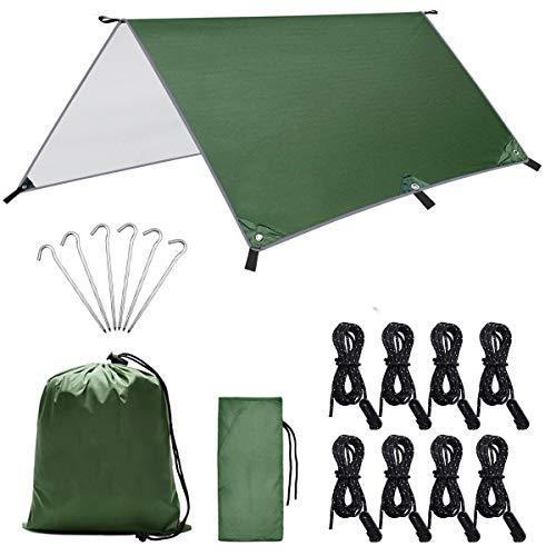 Dokpav 3 m x 3 m camping tentzeil, tentzeil, waterdichte regenbescherming, zonwering, licht, draagbare hangmat met…