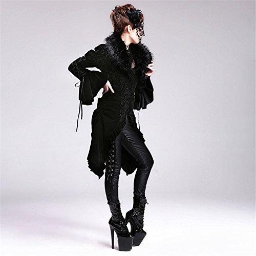 Devil Fashion Steam Punk Gothic Pelliccia Cappotto lungo cachemire per donne, 7 misure