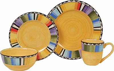 Gibson Home Fandango 16-Piece Dinnerware Set, Gold/Various