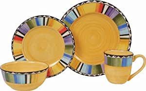 Gibson Home Fandango 16-Piece Dinnerware Set, Gold/Various