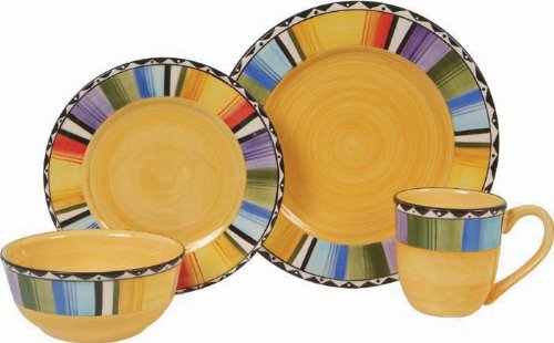 (Gibson Home Fandango 16 Piece Dinnerware Set, Yellow)