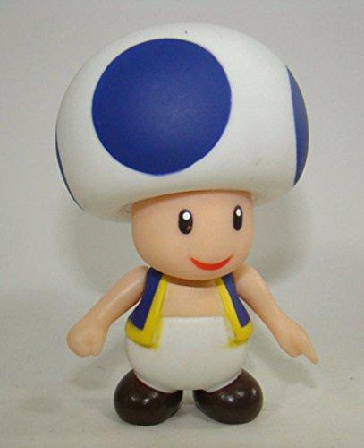 Super Mario Brothers Mushroom Blue Toad Action Figure Plastic Toy 9CM