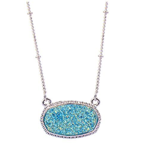 YUJIAXU Design Framed Etched Oval Multi Druzy Glitter Statement Short Necklace for Wedding(Teal Drusy) - Framed Oval Pendant
