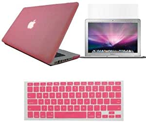 iBenzer - 3 in 1 Rubberized Pink Hard Case Cover & Keyboard Cover & Screen Film for Macbook Pro 13 inch 13 - FAST