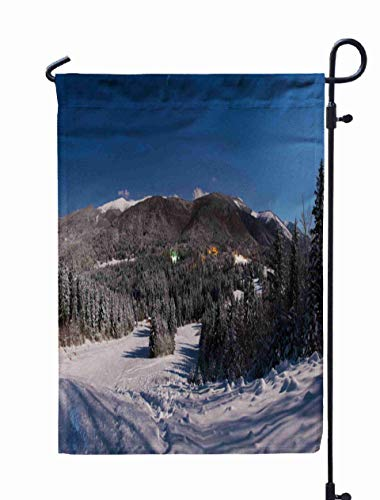 Shorping Welcome Garden Flag, 12x18Inch Starry Night Lights in The Panorama for Holiday and Seasonal Double-Sided Printing Yards Flags -