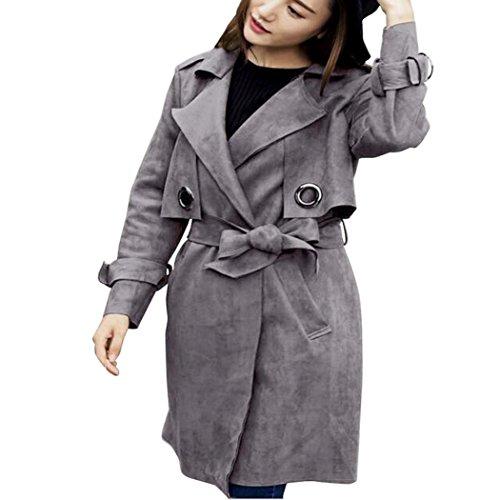 Parka Women's Outwear Black Down Jacket Manadlian Gray XL Windbreaker Overcoat Fashion Suede qd4Y0aYWxw