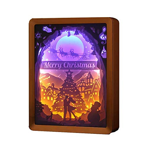 Uxiyi Christmas Papercut Light Boxes, 3D Couple Elk Pattern Paper Sculpture Lamp, DIY Creative Nightscape, Halloween