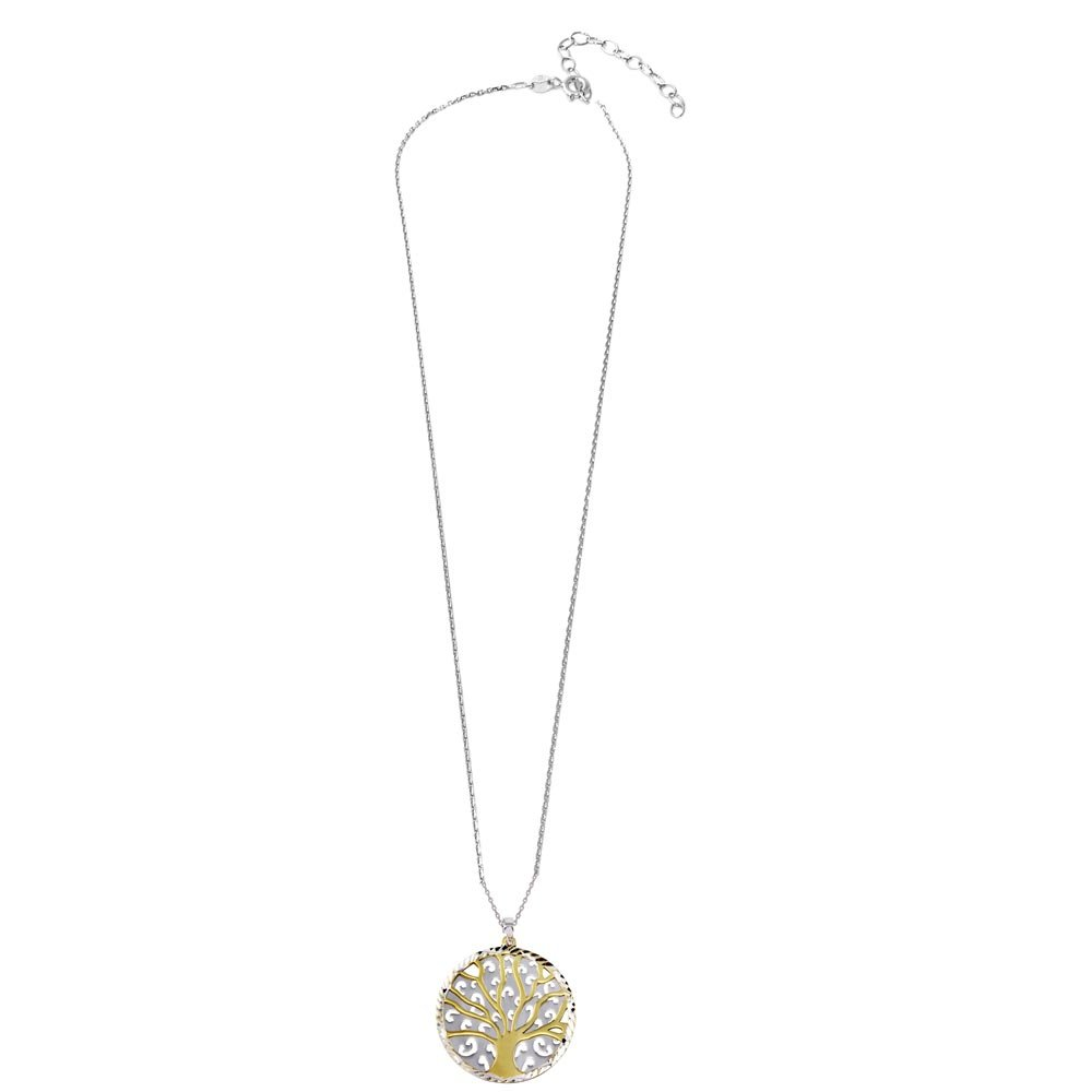 SURANO DESIGN JEWELRY Sterling Silver Necklace w//Gold /& Rhodium Plated Two Pieces Round Tree Pendant