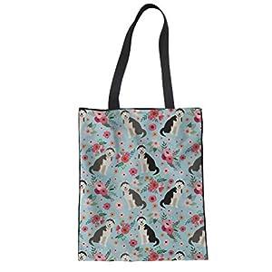 SANNOVO Animal Canvas Reusable Tote Bag Women Shopping Tote Bags Book Bags 2