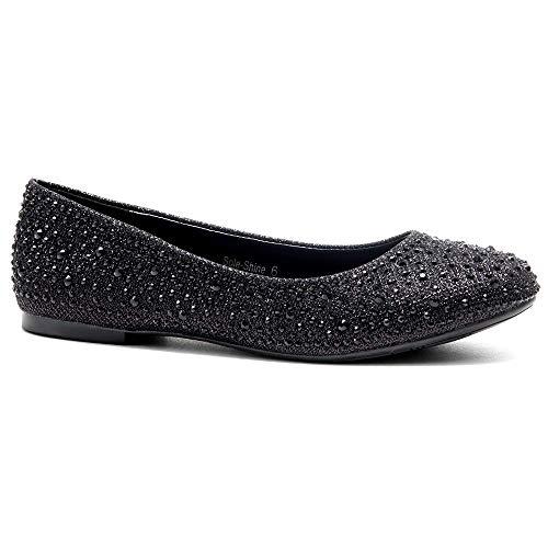 Herstyle Women's Sole-Shine Round Toe Jeweled Embellishments Rhinestone Ballet Flats Shoes Black 8.0 ()