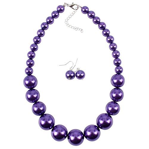 Plastic Purple Necklace - HaHaGirl Women's Large Purple Big Faux Pearl Choker Statement 21