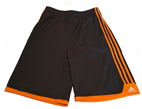 Adidas Youth Basketball Short - adidas Youth Boys Mesh Shorts, Grey/Orange Strips, XL (18)