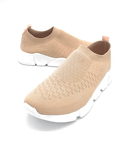 Blue Berry EASY21 Lady Breathable Fashion Slip-On Athletic Sports Shoes,Nude 9