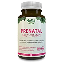 Once Daily Prenatal Multivitamin w/ Probiotics, Methylfolate, Organic Fruits & Veggies, Enzymes, Choline - FULL Trimester (90 Tablets) - Non-GMO, No Soy, Made in USA, Contains Organic Ingredients
