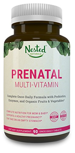 Once Daily Prenatal Multivitamin w/ Probiotics, Methylfolate, Organic Fruits and Veggies, Enzymes, Choline - Full Trimester (90 Tablets) - Non-GMO, No Soy, Made in USA, Contains Organic Ingredients