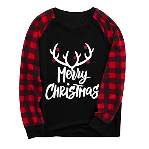 Christmas Mom and Daddy Letter Printed Long Sleeve Blouse Tops and Pants Clothes Pajamas Family Sets ODGear