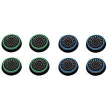 Insten [4 Pair/8 Pcs] Silicone Analog Thumb Grip Stick Cover,Game Remote Joystick Cap for PS4 Dualshock 4/PS3 Dualshock 3/ PS2 Dualshock/Xbox One Wireless/Xbox 360 Controllers (Black/Green,Black/Blue)