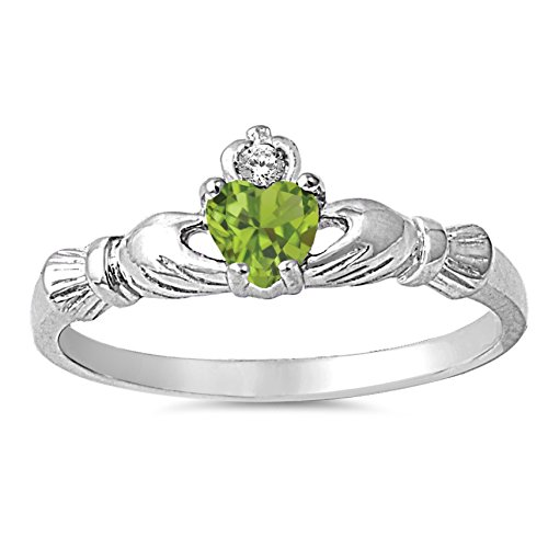 Claddagh Jewelry - 925 Sterling Silver Faceted Natural Genuine Green Peridot Claddagh Heart Promise Ring Size 8