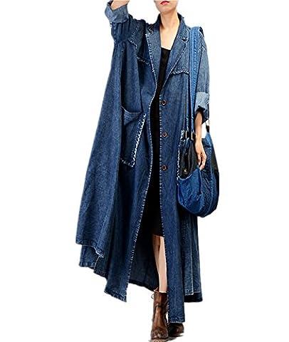 Yesno JQ3 Women Casual Loose Maxi Button-Down Denim Jacket Coat 100% Cotton Plus Size Fringed Cut Large Hem /Big - Denim Coat Jacket