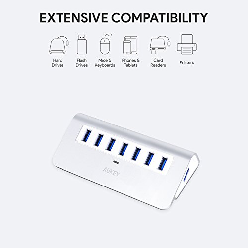 AUKEY [Upgraded] USB Hub 3.0, Aluminum 7 Port USB 3.0 Data Hub with 12V/2.5A Power Adapter, 3.3ft USB Cable for MacBook Air, Mac mini, iMac, Laptop, PC, USB Flash Drives, Hard Drive (Silver) by AUKEY (Image #1)