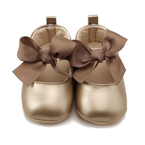 Voberry Toddler Baby Girls Boys Leater Sneaker Moccasins Anti-slip Soft Sole Bow Shoes