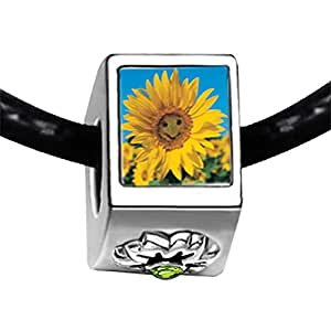 Chicforest Silver Plated Happy Sunflower Photo Peridot Crystal August Birthstone Flower Charm Beads Fits Pandora Charm Bracelet