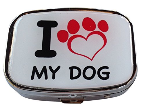 I Love My Dog Silver Two Compartment Rectangular Pocket/Purse/Travel Pill Box