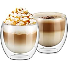 Ecooe 2x250ml/8.8oz Double Wall Cups Latte/Cappuccino/Tea Glass Cups