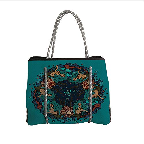iPrint Neoprene Multipurpose Beach Bag Tote Bags,Mermaid,Marine Theme Circle of Mermaids Illustration Vintage Style Ornamental Pattern Decor,Teal Red Cream,Women Casual Handbag Tote Bags