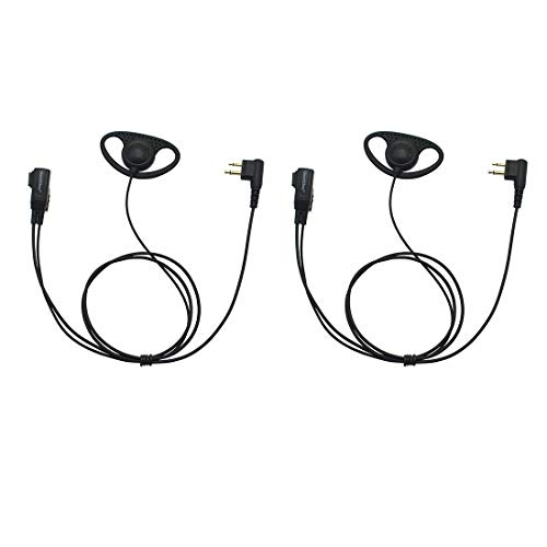 GoodQbuy D Shape Clip-Ear Headset Earpiece PTT with Mic for Motorola Two-Way Radio CLS1410 RMM2050 GP300 CP200 PR400 CLS1110 (2 Pcs)